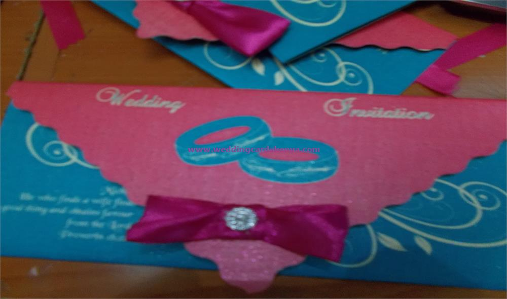 Classic Turquoise Blue and Hot Pink Wedding Card | VisualDo Weddings